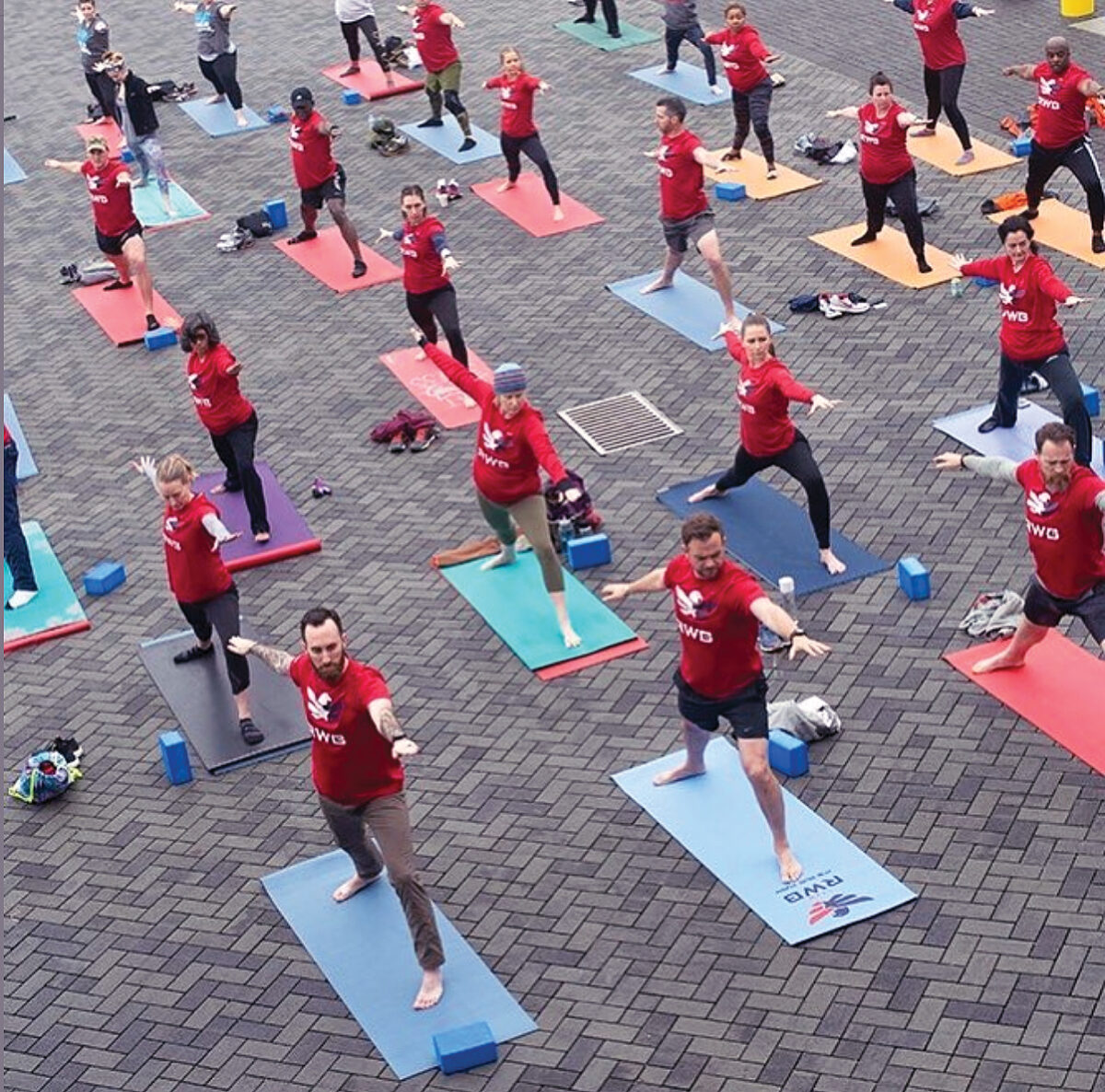 Veterans of the Military practicing yoga